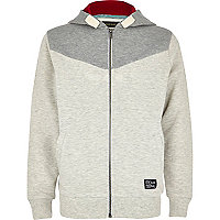 Boys grey V yoke hoody