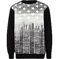 Boys black star city print sweatshirt