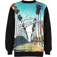 Boys black palm tree print sweatshirt