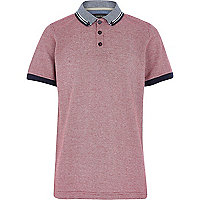 Boys red textured polo shirt