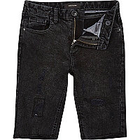 Boys black wash skinny raw hem jean shorts