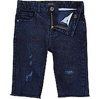 Boys dark blue wash skinny raw hem jean short