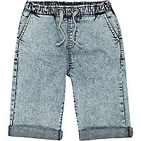 Boys blue acid wash denim jogger shorts