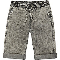 Boys grey acid wash denim jogger shorts