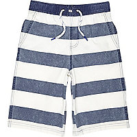 Boys navy stripe board swim shorts
