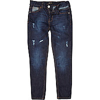 Boys mid wash rip and repair slim dylan jeans