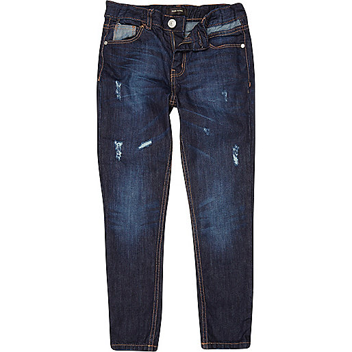 Boys mid wash rip and repair slim jeans