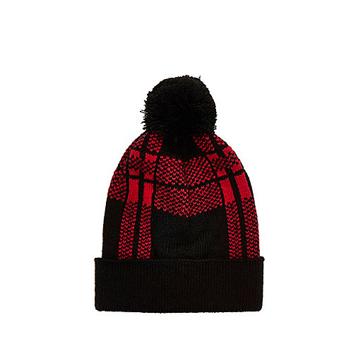 Boys red tartan beanie hat