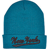 Boys teal New York beanie hat