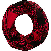 Boys red tartan snood