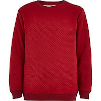 Boys dark red quilted panel sweatshirt