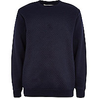 Boys navy quilted panel sweatshirt
