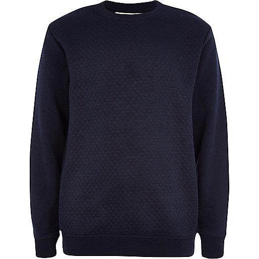 Boys navy quilted panel sweatshirt