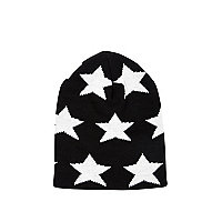 Boys black star beanie hat