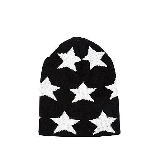 Boys black star beanie hat