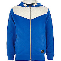 Boys blue cobalt V yoke hoody