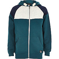 Boys green teal colour block hoody
