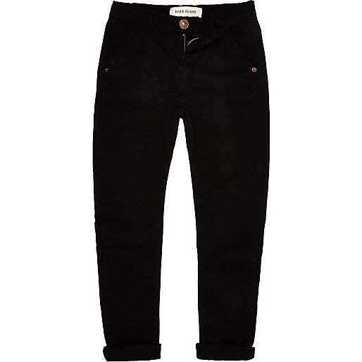 Boys black chino trousers