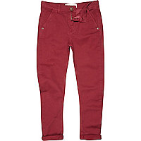 Boys red berry chino trousers