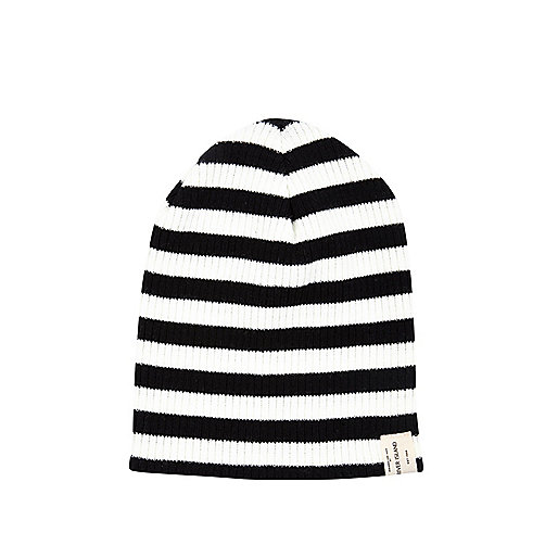 Boys black stripe beanie hat