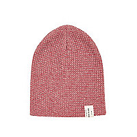 Boys red twist yarn beanie hat