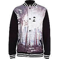 Boys black palm print bomber jacket