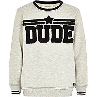 Boys grey ecru dude sweatshirt