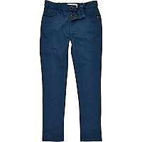 Boys navy skinny chino trousers