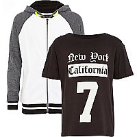 Boys white mesh hoody and t-shirt set