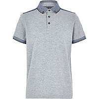 Boys grey yoke back polo shirt