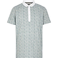Boys blue wave print polo shirt