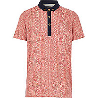 Boys red brick style polo t-shirt