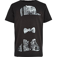 Boys black streetman city print t-shirt