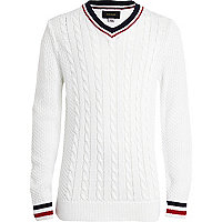 Boys white cricket jumper