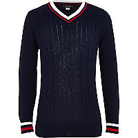 Boys navy cricket jumper