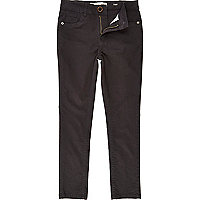 Boys black washed 5 pocket skinny trousers