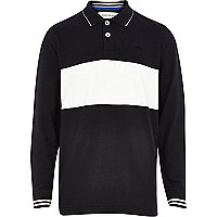 Boys black rugby polo shirt