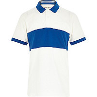 Boys white contrast panel polo t-shirt