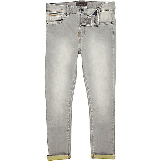 Boys grey skinny yellow tapered jeans