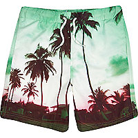 Boys green palm photo print swim shorts