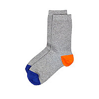 Boys grey contrast heel and toe socks