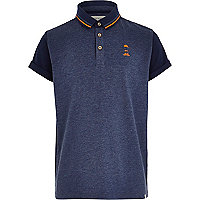 Boys navy blue flecked polo