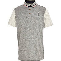 Boys grey flecked polo shirt