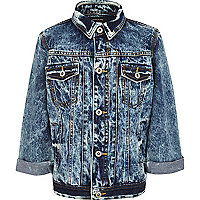 Boys blue acid wash denim jacket