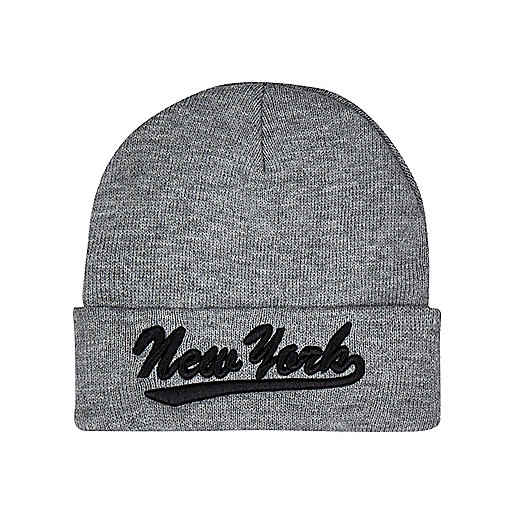 Boys grey New York beanie hat