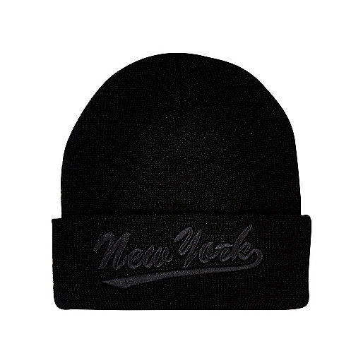 Boys black New York beanie hat