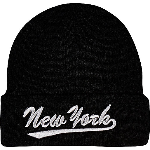 Boys black and silver New York beanie hat