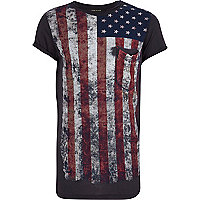 Boys black American flag pocket print t-shirt