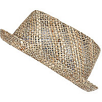 Boys beige open weave straw pork pie hat