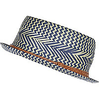 Boys blue weave straw pork pie hat
